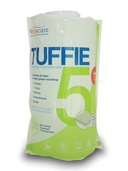 Picture of Tuffie 5 Universal Sanitising Wipe Flexican 6x150s